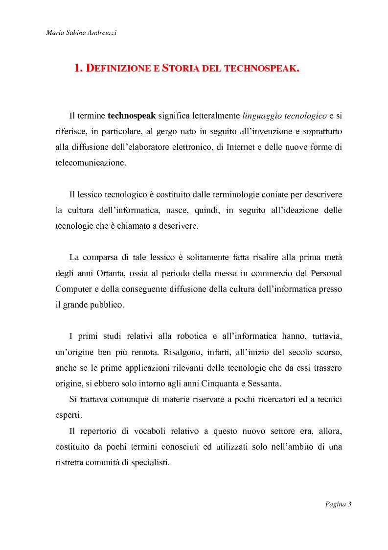 Anteprima della tesi: Technospeak: le nuove terminologie relative al mondo dell'informatica., Pagina 1