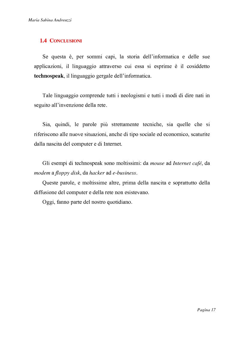Anteprima della tesi: Technospeak: le nuove terminologie relative al mondo dell'informatica., Pagina 15