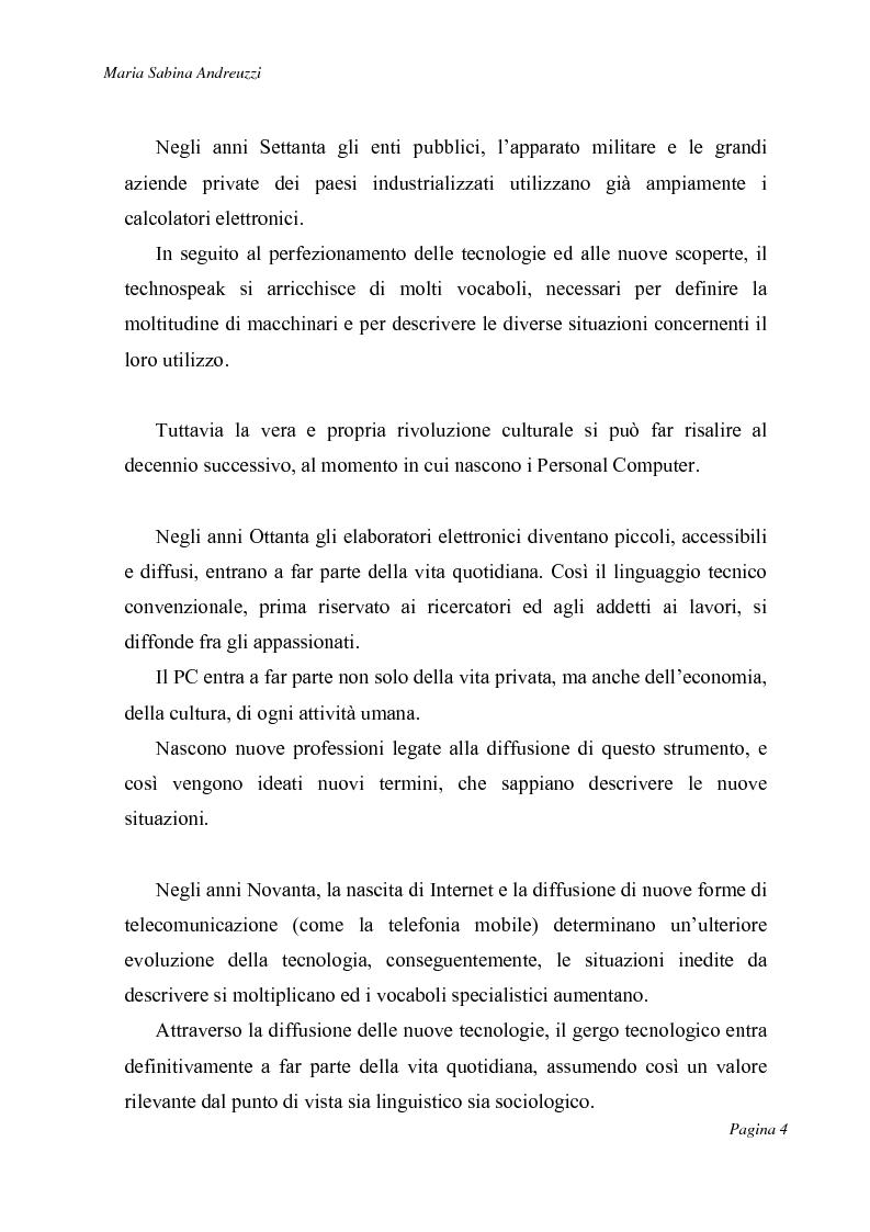 Anteprima della tesi: Technospeak: le nuove terminologie relative al mondo dell'informatica., Pagina 2