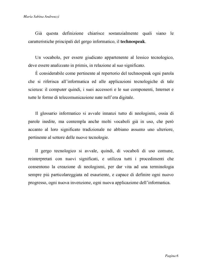 Anteprima della tesi: Technospeak: le nuove terminologie relative al mondo dell'informatica., Pagina 4