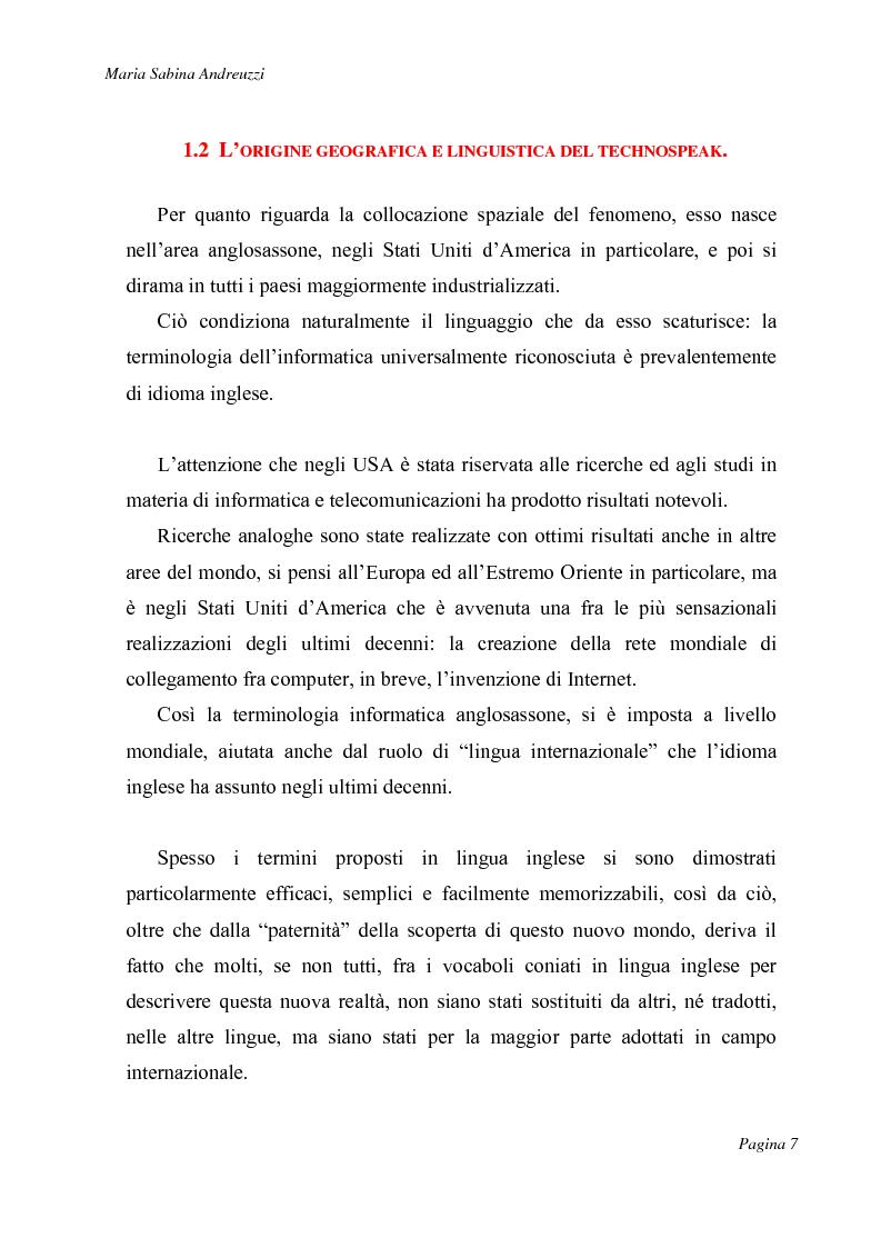 Anteprima della tesi: Technospeak: le nuove terminologie relative al mondo dell'informatica., Pagina 5