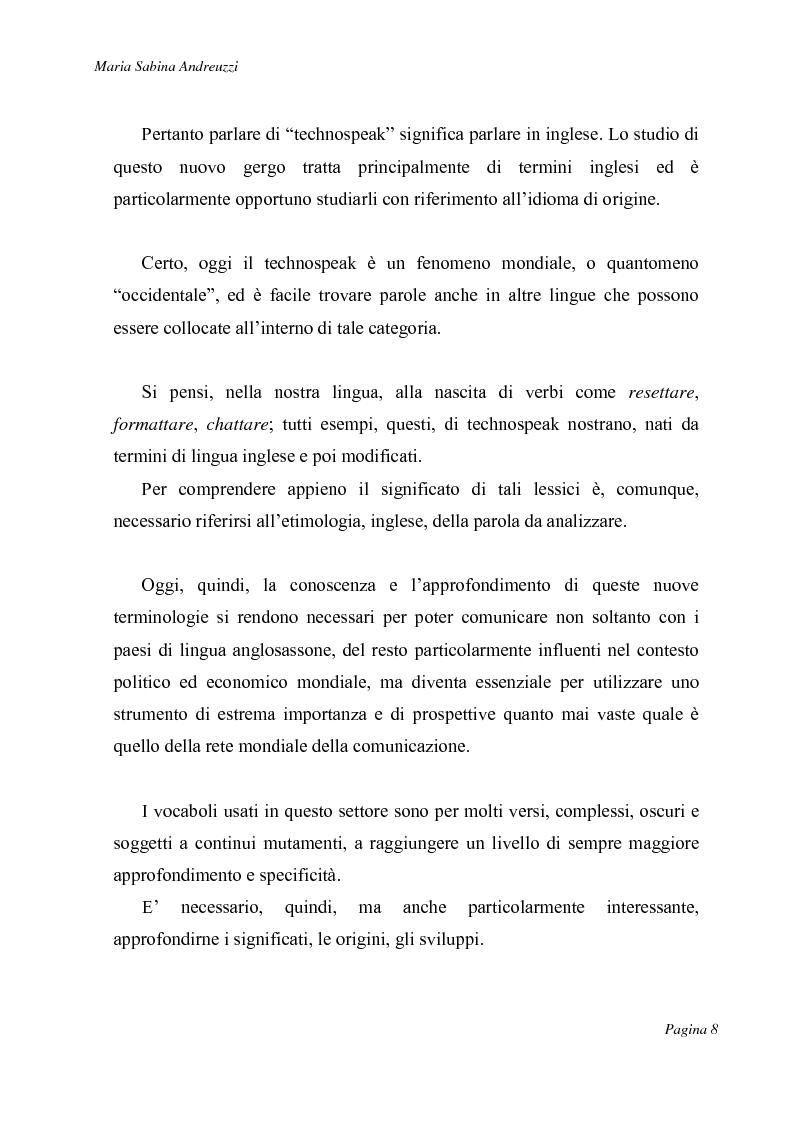 Anteprima della tesi: Technospeak: le nuove terminologie relative al mondo dell'informatica., Pagina 6