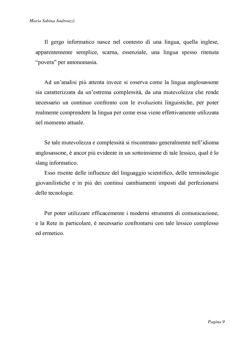 Anteprima della tesi: Technospeak: le nuove terminologie relative al mondo dell'informatica., Pagina 7