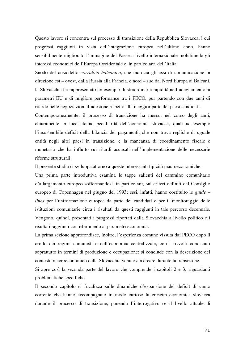 Anteprima della tesi: La Rep. Slovacca verso l'Unione Europea: analisi del processo di transizione, Pagina 2