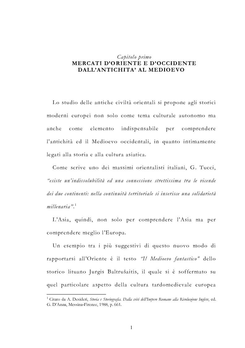 Anteprima della tesi: Le vie delle merci ed i percorsi dell'arte tra l'India e il Meridione d'Italia dall'Antichità al Medioevo. Studio mirato sul gioiello., Pagina 6