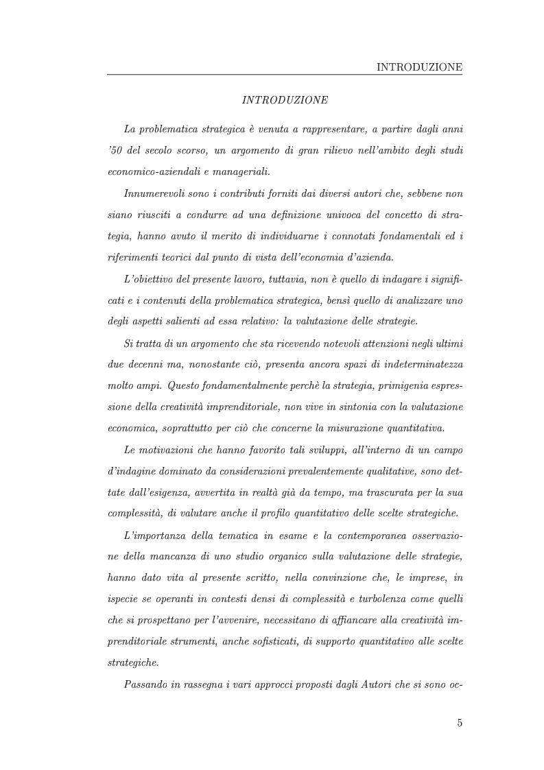 Anteprima della tesi: I metodi di valutazione delle strategie: un'analisi comparata, Pagina 1