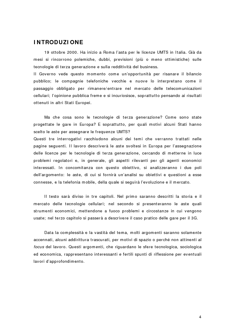 Anteprima della tesi: La telefonia mobile di terza generazione: le aste per le licenze UMTS in Europa e in Italia, Pagina 1
