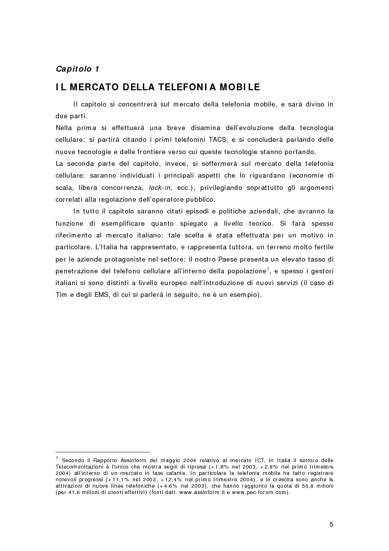 Anteprima della tesi: La telefonia mobile di terza generazione: le aste per le licenze UMTS in Europa e in Italia, Pagina 2