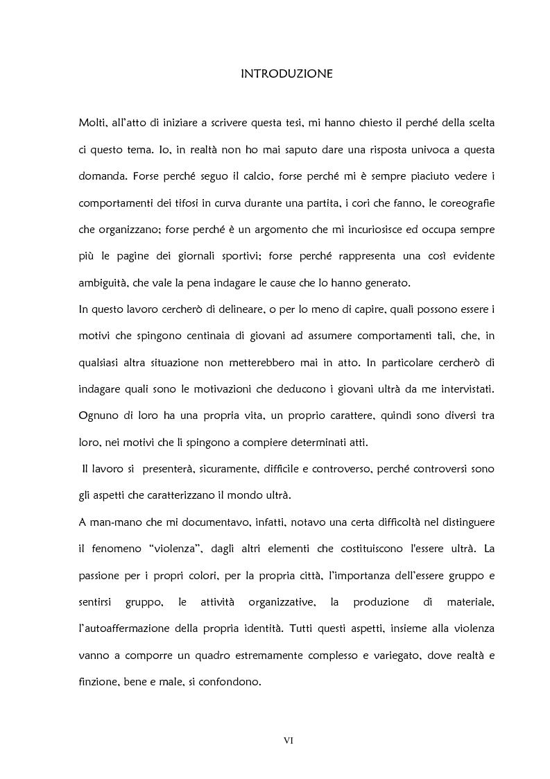 Anteprima della tesi: La violenza negli stadi: aspetti psicosociali e preventivi, Pagina 1