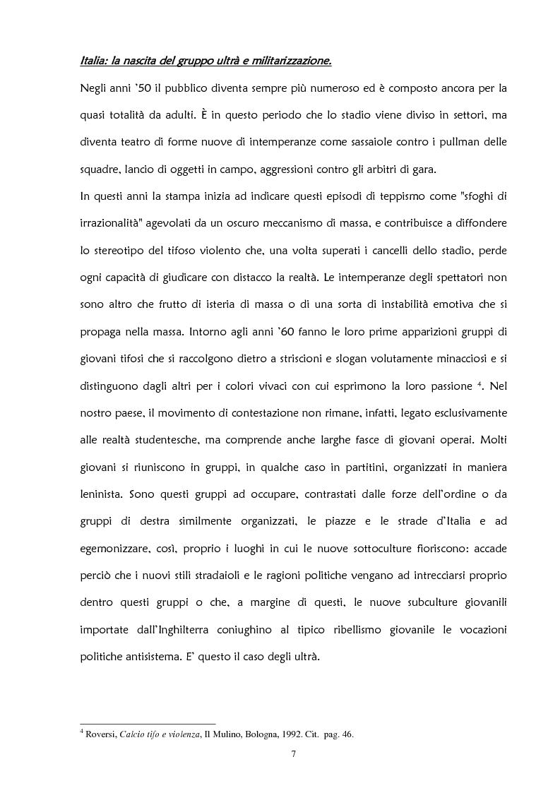Anteprima della tesi: La violenza negli stadi: aspetti psicosociali e preventivi, Pagina 13