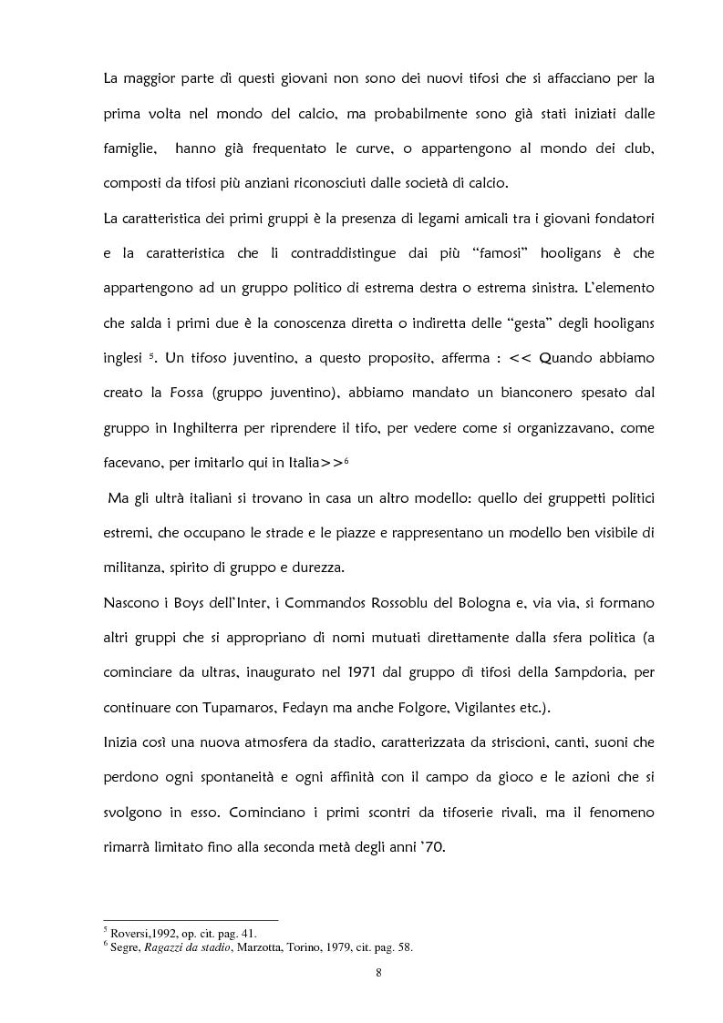 Anteprima della tesi: La violenza negli stadi: aspetti psicosociali e preventivi, Pagina 14