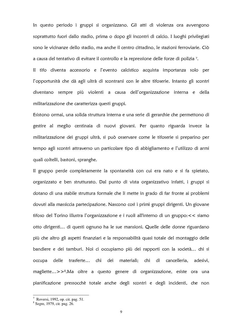 Anteprima della tesi: La violenza negli stadi: aspetti psicosociali e preventivi, Pagina 15