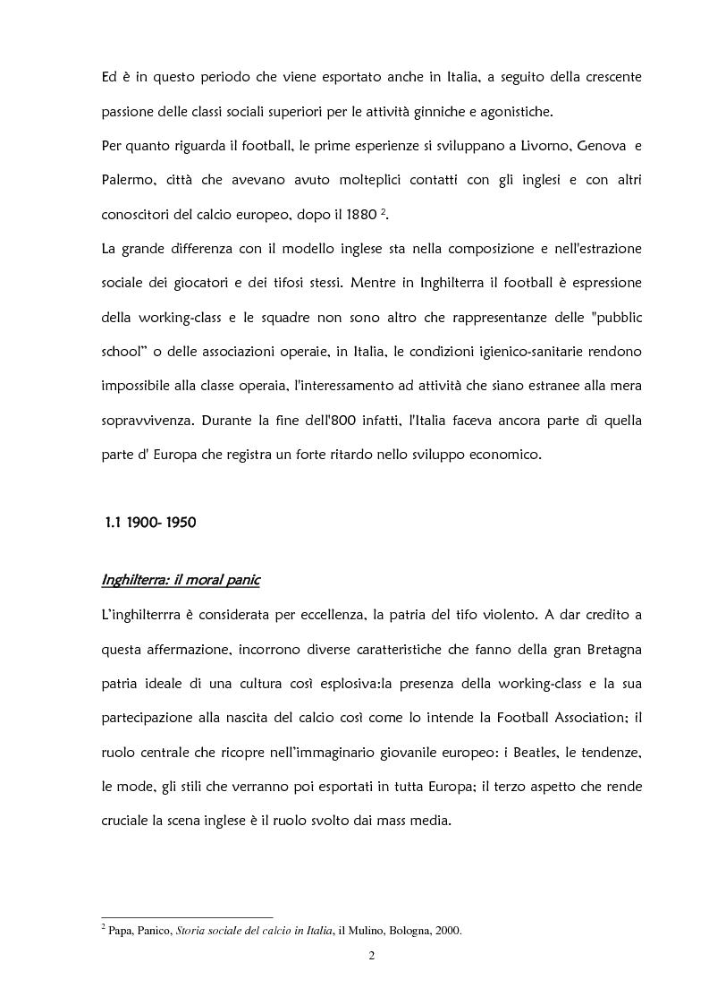 Anteprima della tesi: La violenza negli stadi: aspetti psicosociali e preventivi, Pagina 8