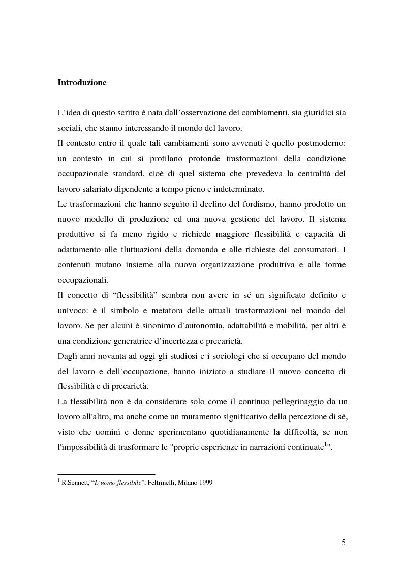 Anteprima della tesi: Flessibilità e precarietà: storie di lavoro atipico, Pagina 1
