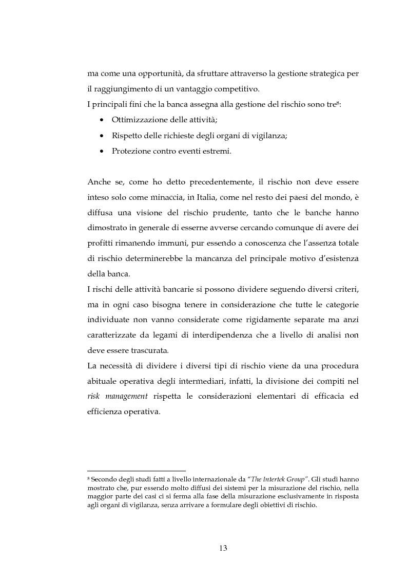 Anteprima della tesi: Tecniche per la misurazione del Rischio negli istituti Finanziari: il caso della BNL, Pagina 10