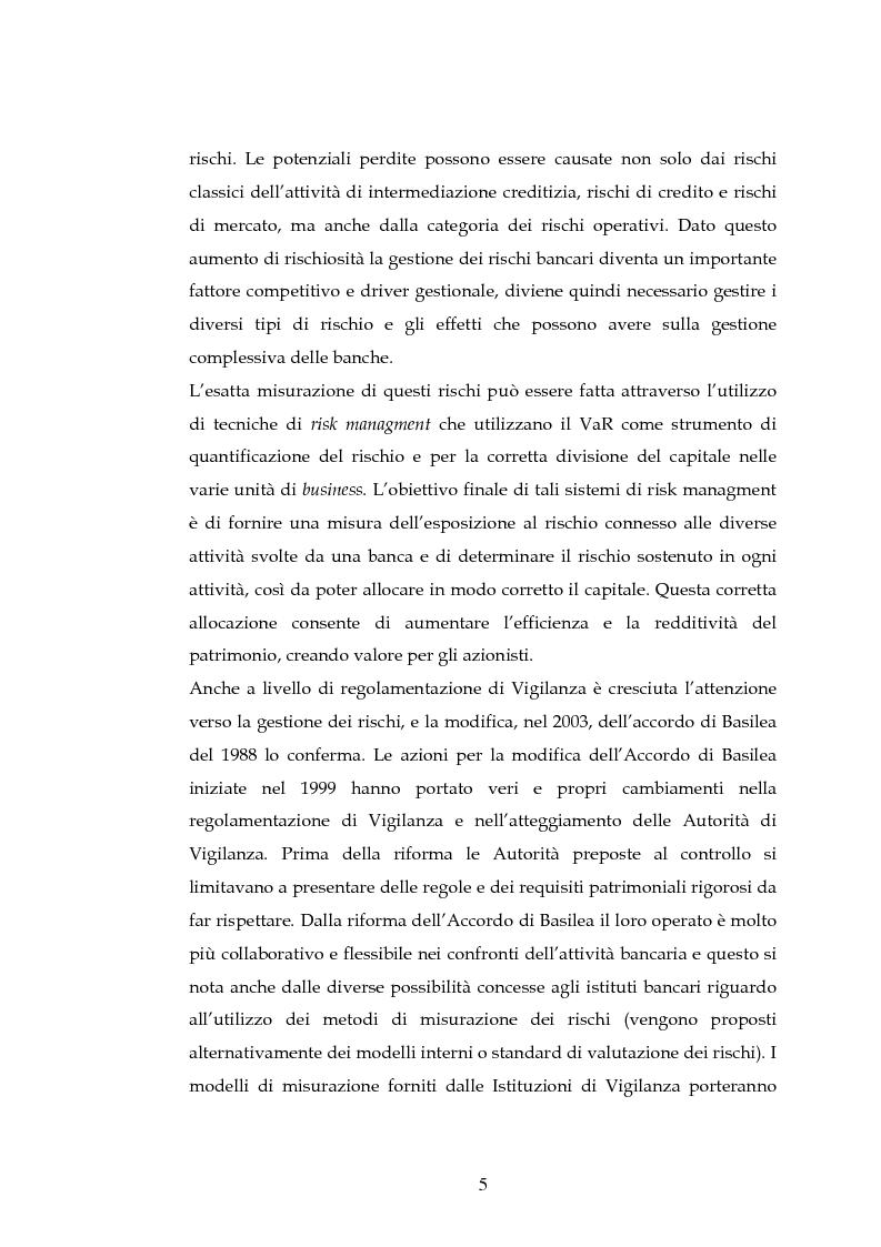 Anteprima della tesi: Tecniche per la misurazione del Rischio negli istituti Finanziari: il caso della BNL, Pagina 2