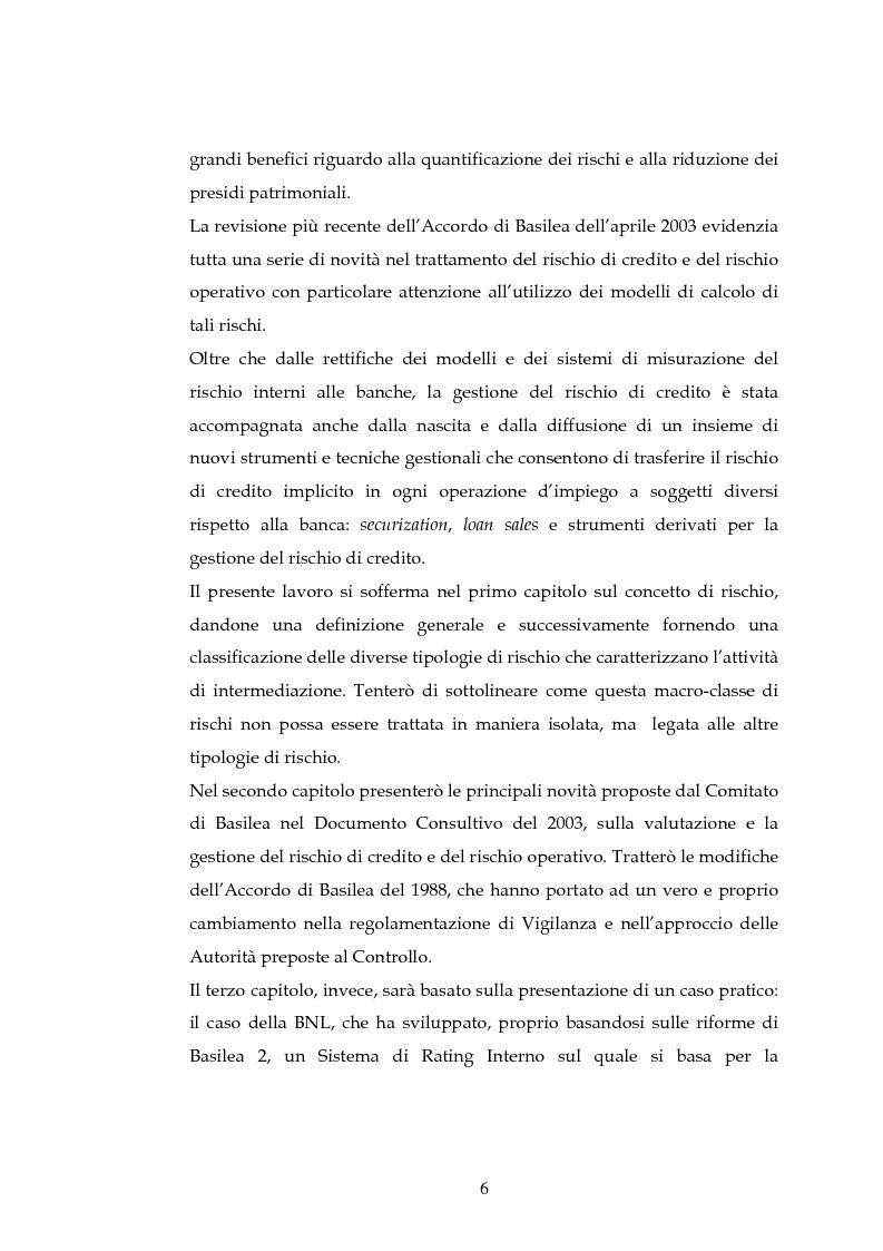 Anteprima della tesi: Tecniche per la misurazione del Rischio negli istituti Finanziari: il caso della BNL, Pagina 3