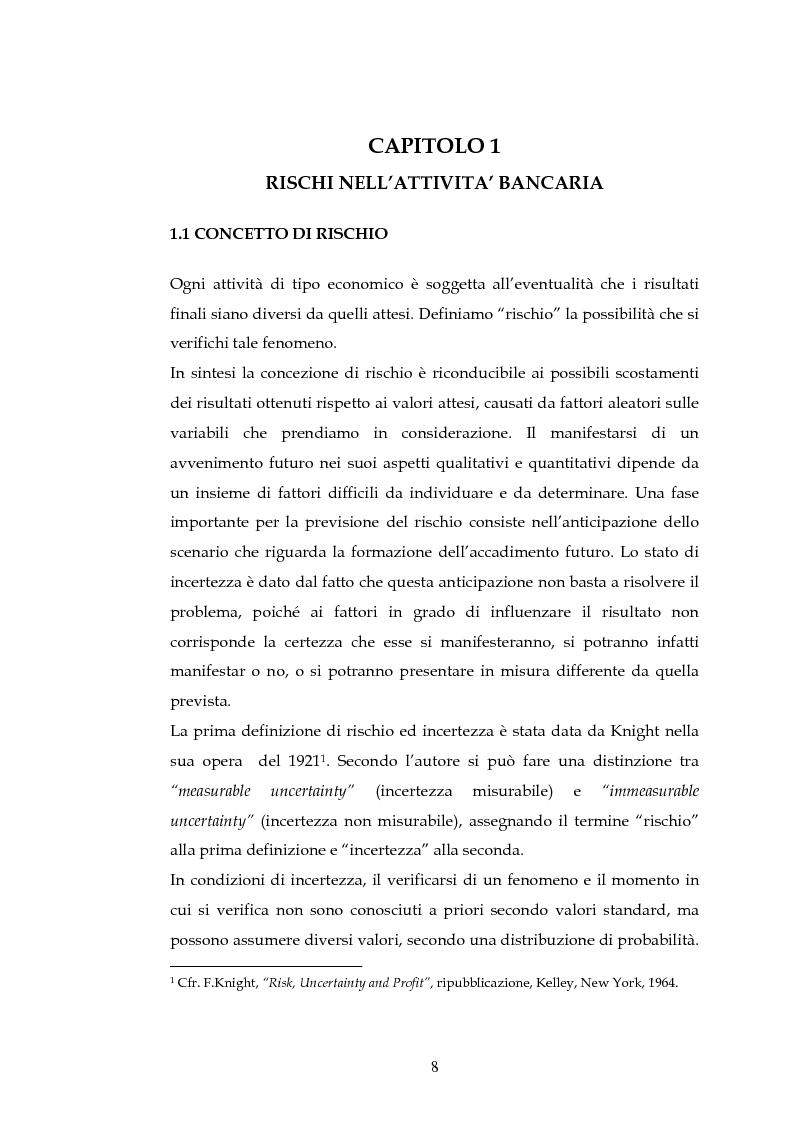 Anteprima della tesi: Tecniche per la misurazione del Rischio negli istituti Finanziari: il caso della BNL, Pagina 5