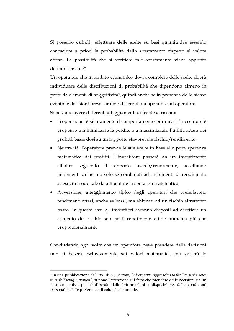 Anteprima della tesi: Tecniche per la misurazione del Rischio negli istituti Finanziari: il caso della BNL, Pagina 6