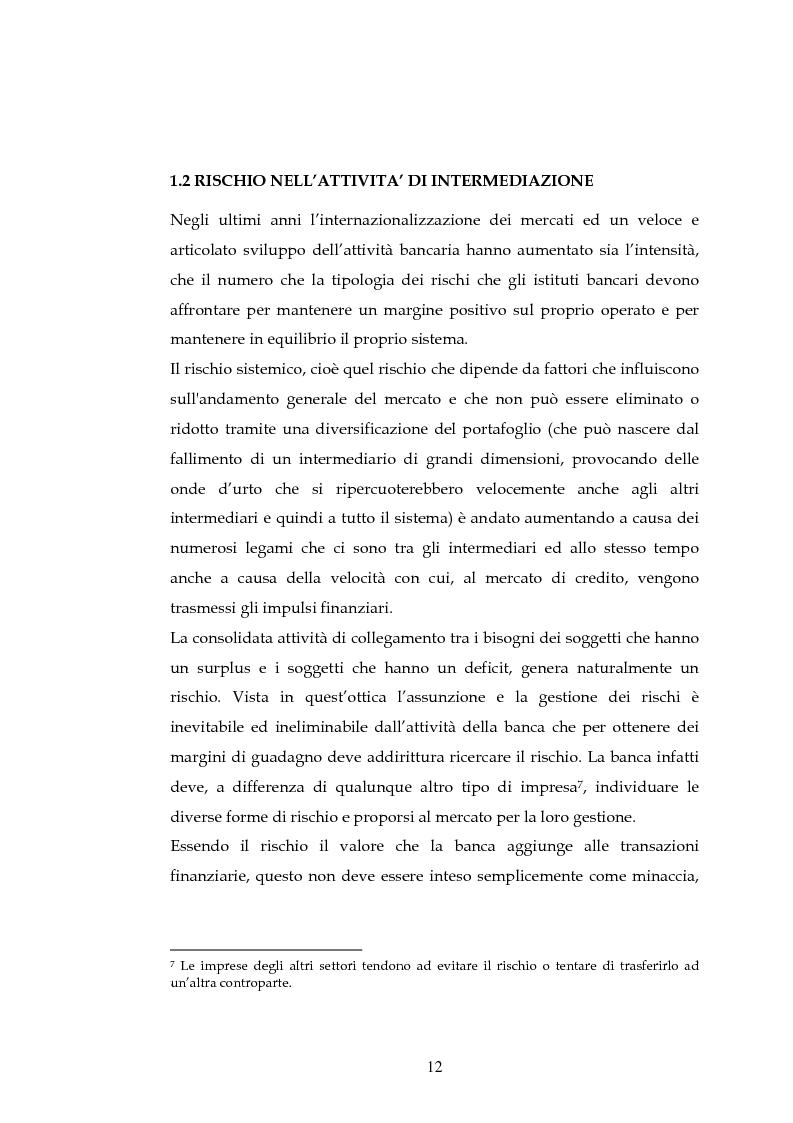 Anteprima della tesi: Tecniche per la misurazione del Rischio negli istituti Finanziari: il caso della BNL, Pagina 9