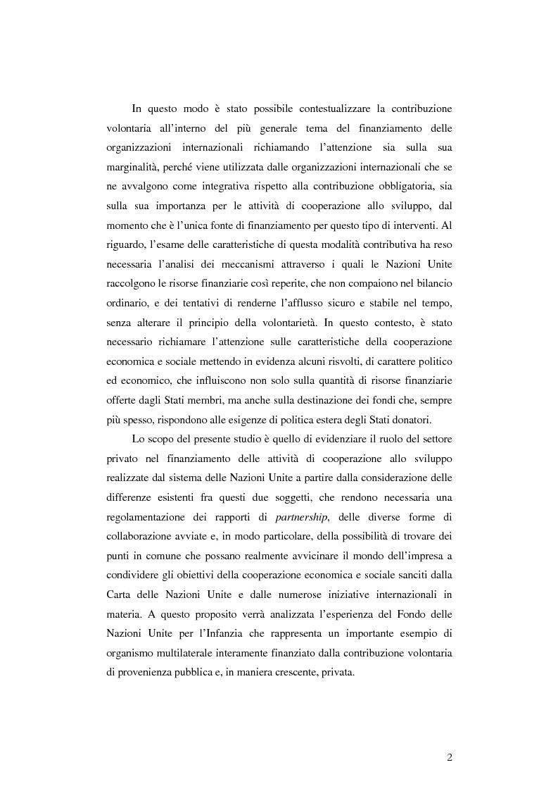 Anteprima della tesi: Il finanziamento dell'Unicef: il ruolo del settore privato, Pagina 2