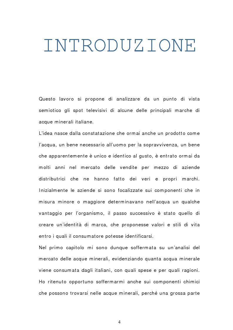 Anteprima della tesi: Analisi semiotica degli spot delle acque minerali, Pagina 1