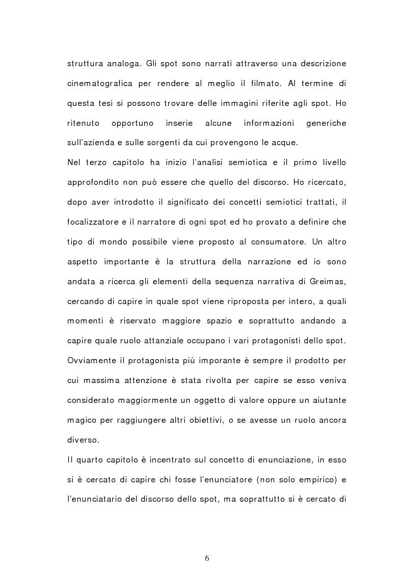 Anteprima della tesi: Analisi semiotica degli spot delle acque minerali, Pagina 3