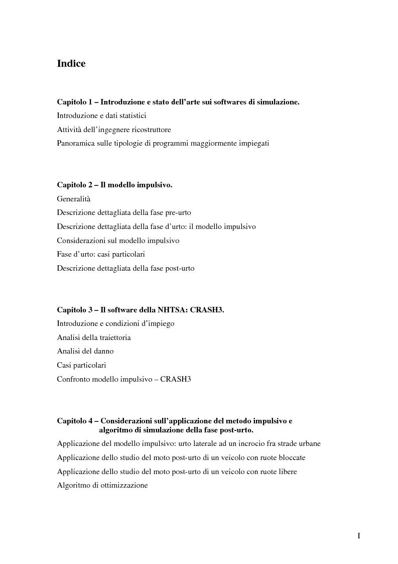 Indice della tesi: Metodi di simulazione per la ricostruzione degli incidenti stradali, Pagina 1