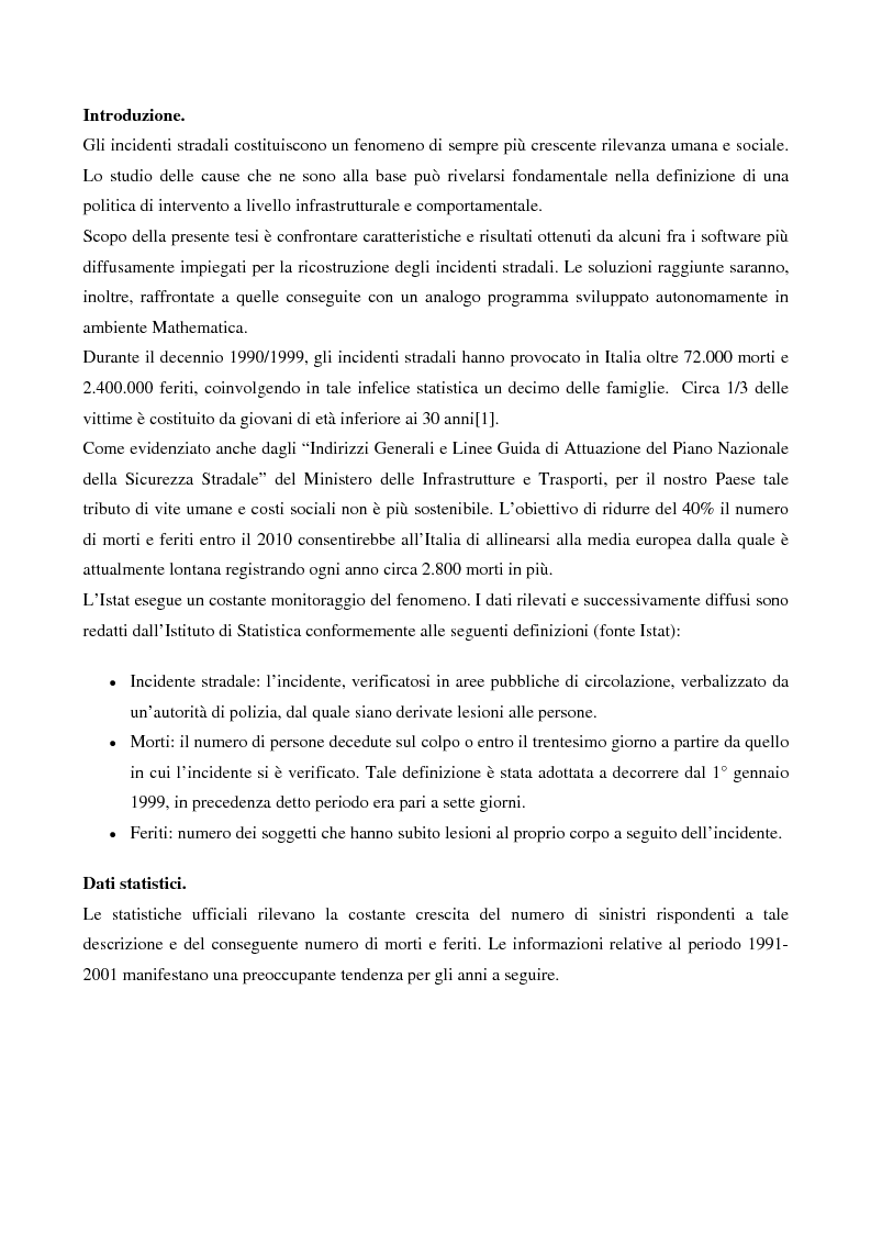 Anteprima della tesi: Metodi di simulazione per la ricostruzione degli incidenti stradali, Pagina 1