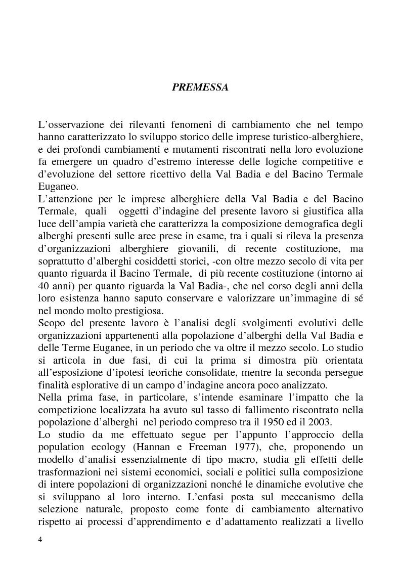 """Anteprima della tesi: """"Isomorfismo ed adattamento organizzativo; l'applicazione alla popolazione d'alberghi della Val Badia e del Bacino Termale Euganeo""""., Pagina 1"""