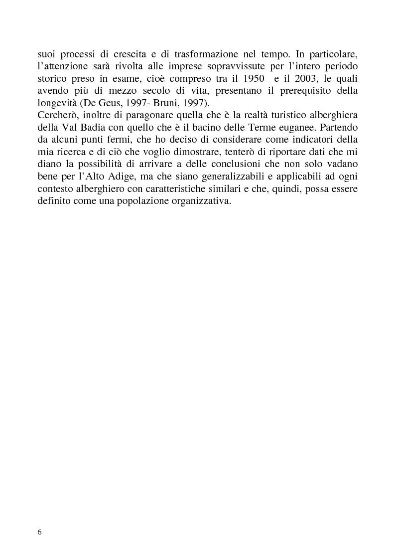 """Anteprima della tesi: """"Isomorfismo ed adattamento organizzativo; l'applicazione alla popolazione d'alberghi della Val Badia e del Bacino Termale Euganeo""""., Pagina 3"""