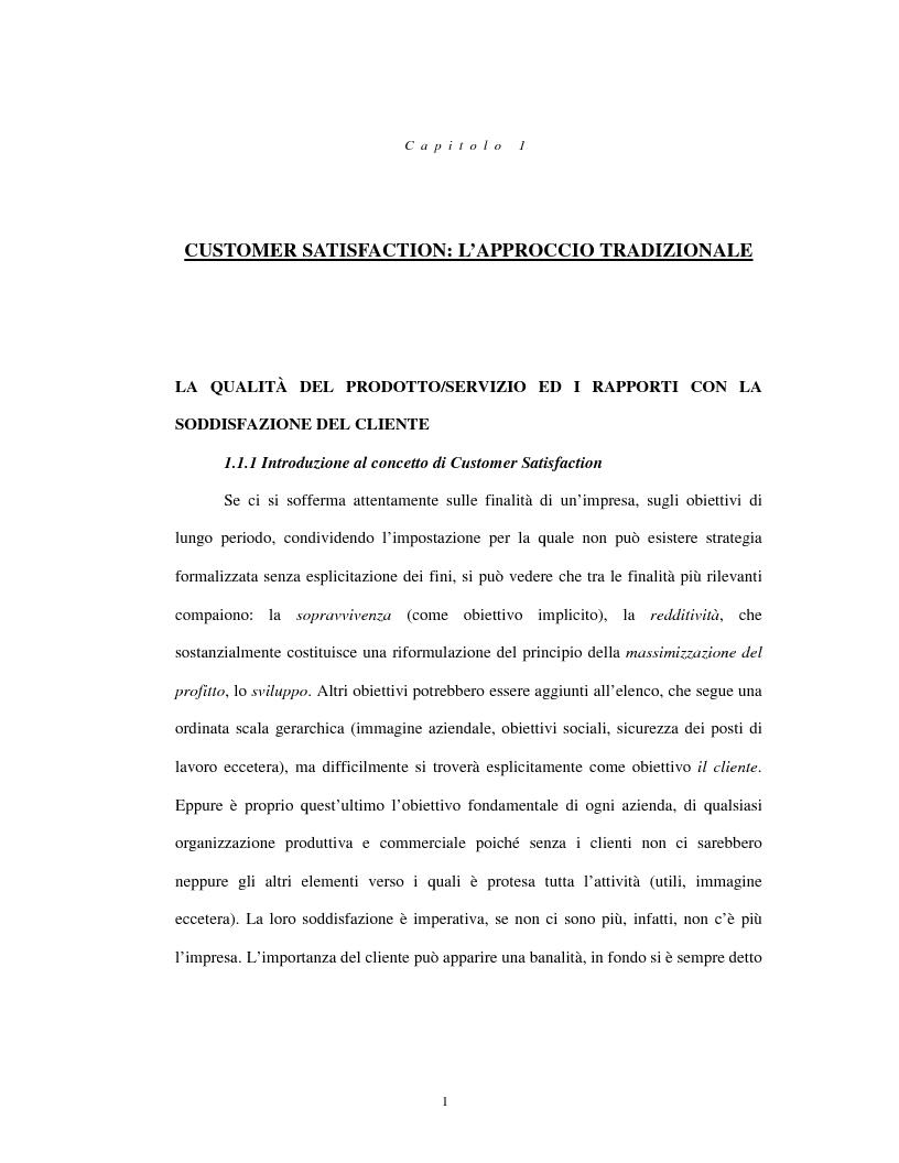 Anteprima della tesi: Approccio tradizionale e nuove tendenze nella Customer Satisfaction, Pagina 1