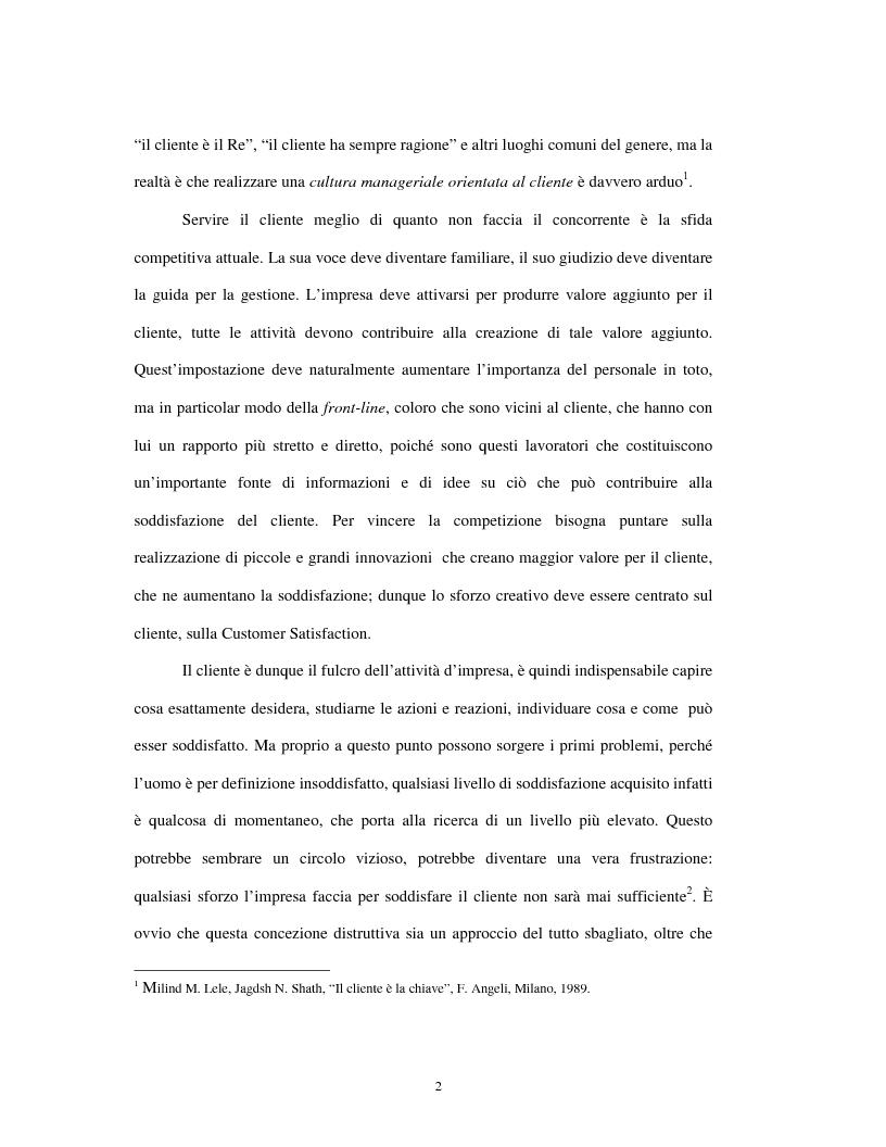 Anteprima della tesi: Approccio tradizionale e nuove tendenze nella Customer Satisfaction, Pagina 2