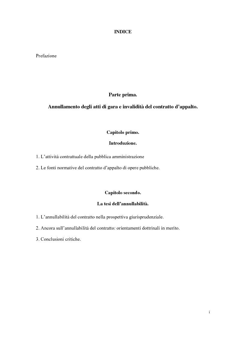 Indice della tesi: I contratti d'appalto di opere pubbliche: profili problematici attinenti alle ipotesi di invalidità e nuove prospettive nel risarcimento del danno alle imprese., Pagina 1