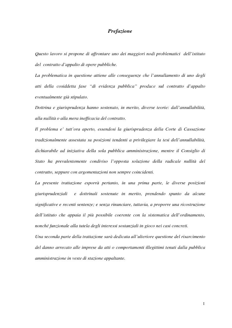 Anteprima della tesi: I contratti d'appalto di opere pubbliche: profili problematici attinenti alle ipotesi di invalidità e nuove prospettive nel risarcimento del danno alle imprese., Pagina 1