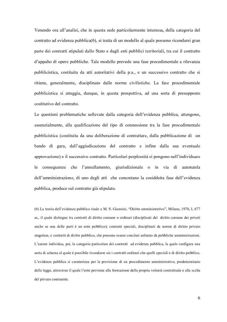 Anteprima della tesi: I contratti d'appalto di opere pubbliche: profili problematici attinenti alle ipotesi di invalidità e nuove prospettive nel risarcimento del danno alle imprese., Pagina 7