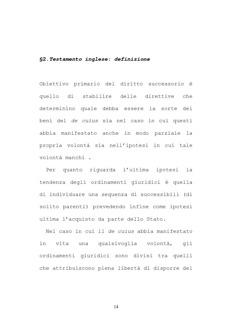 Anteprima della tesi: Il testamento inglese: il personal representative, Pagina 14