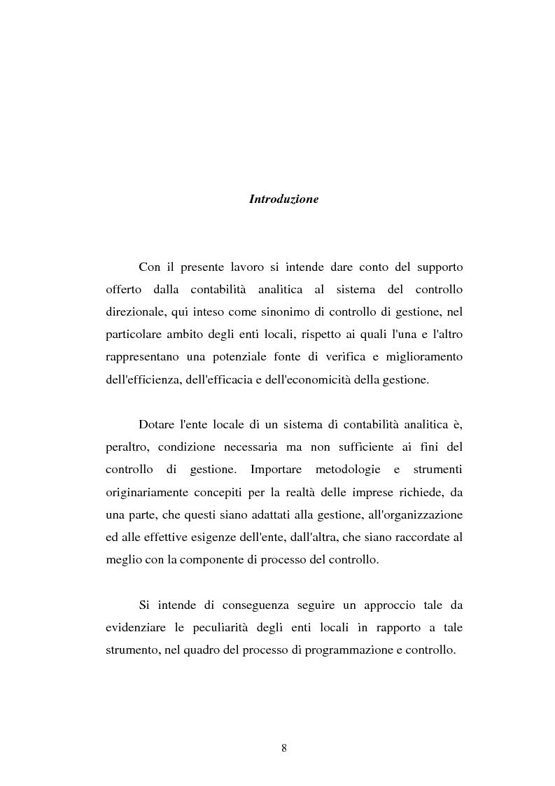 Anteprima della tesi: Il cost accounting come strumento di controllo direzionale negli enti locali. Il caso del Comune di Porto Torres, Pagina 1