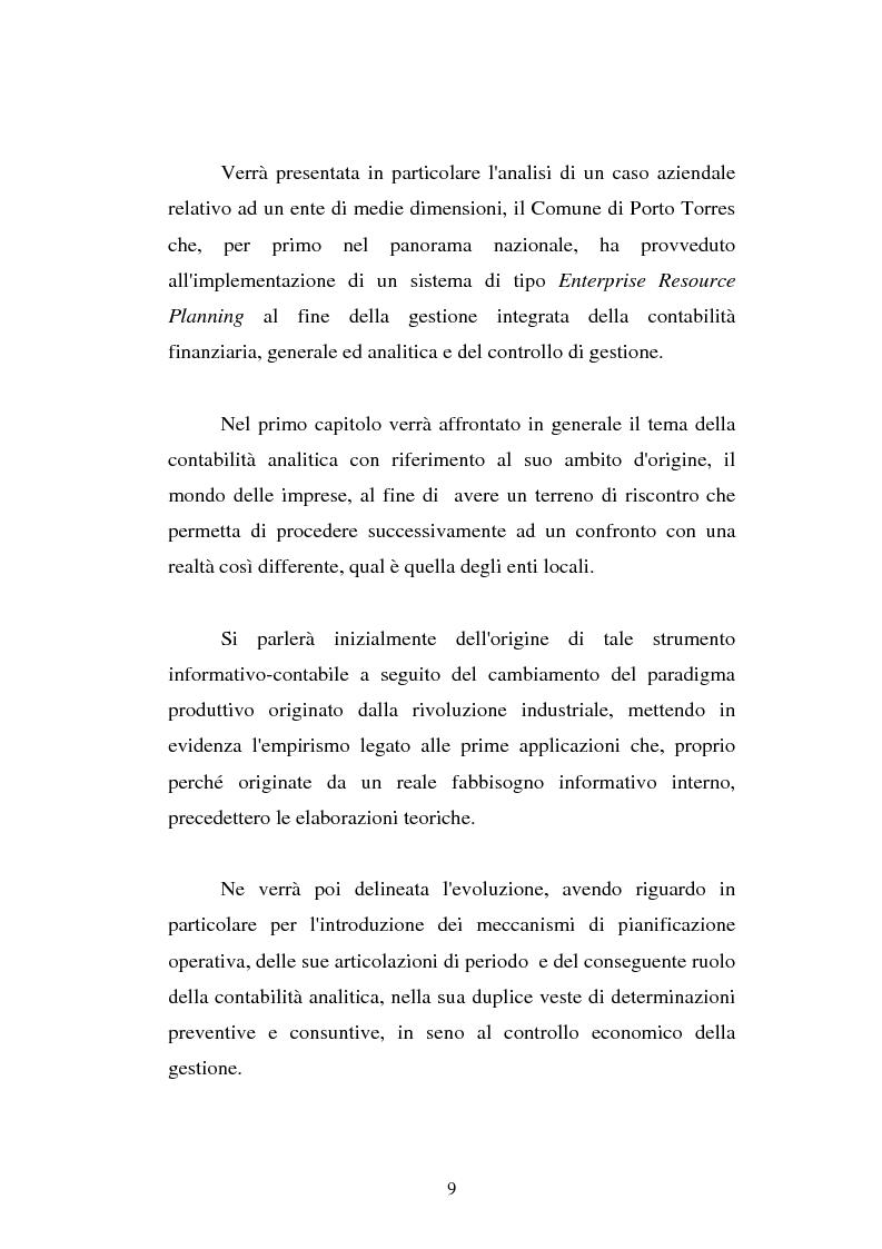 Anteprima della tesi: Il cost accounting come strumento di controllo direzionale negli enti locali. Il caso del Comune di Porto Torres, Pagina 2
