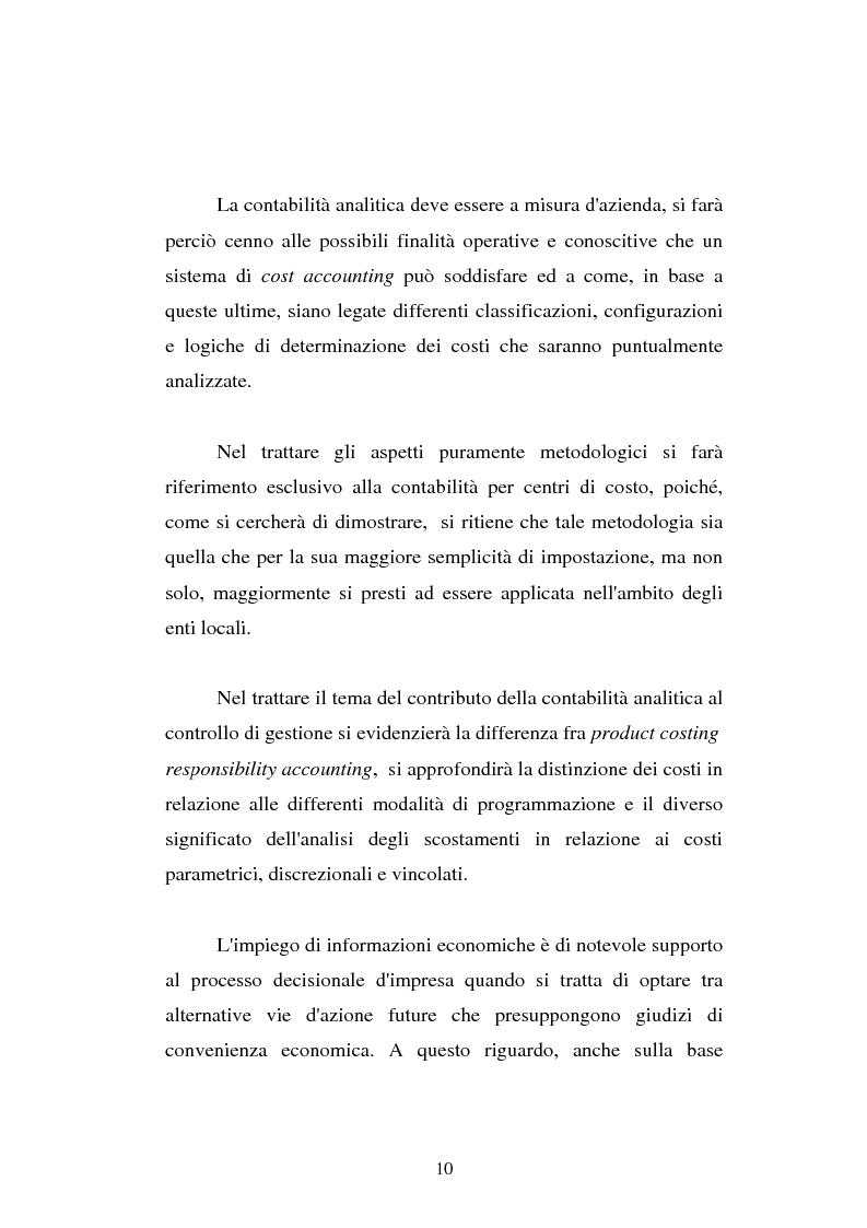 Anteprima della tesi: Il cost accounting come strumento di controllo direzionale negli enti locali. Il caso del Comune di Porto Torres, Pagina 3