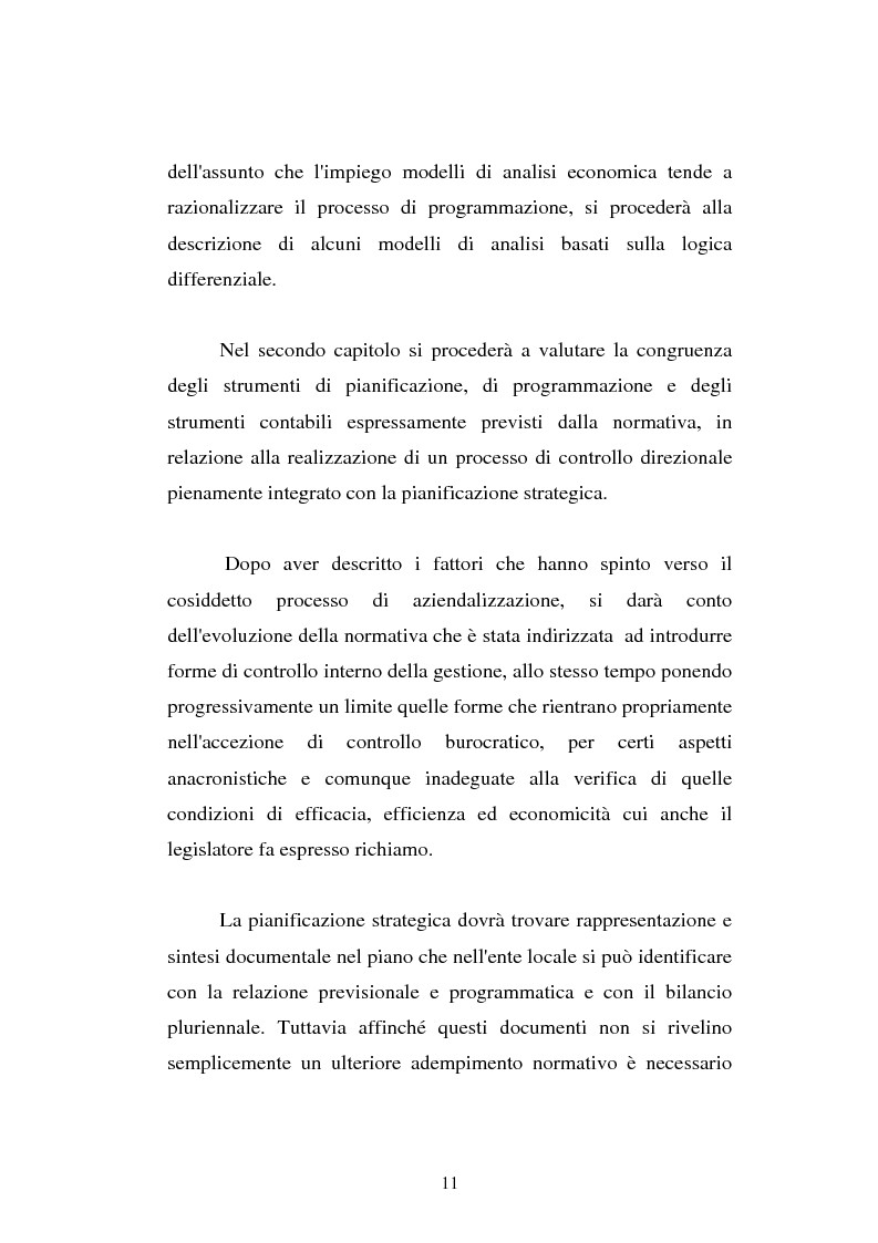 Anteprima della tesi: Il cost accounting come strumento di controllo direzionale negli enti locali. Il caso del Comune di Porto Torres, Pagina 4