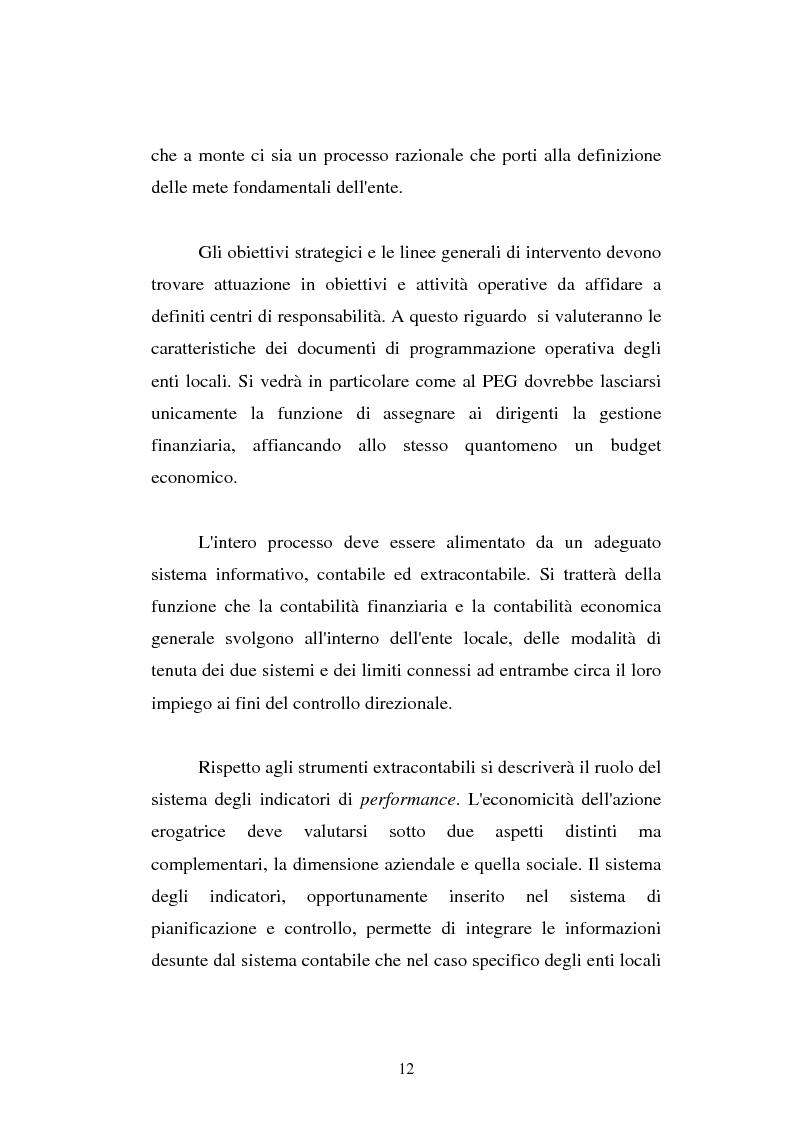 Anteprima della tesi: Il cost accounting come strumento di controllo direzionale negli enti locali. Il caso del Comune di Porto Torres, Pagina 5