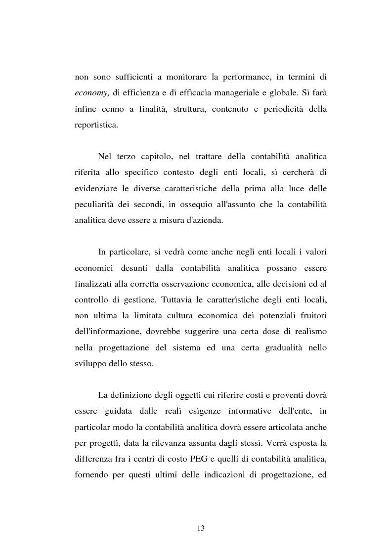 Anteprima della tesi: Il cost accounting come strumento di controllo direzionale negli enti locali. Il caso del Comune di Porto Torres, Pagina 6