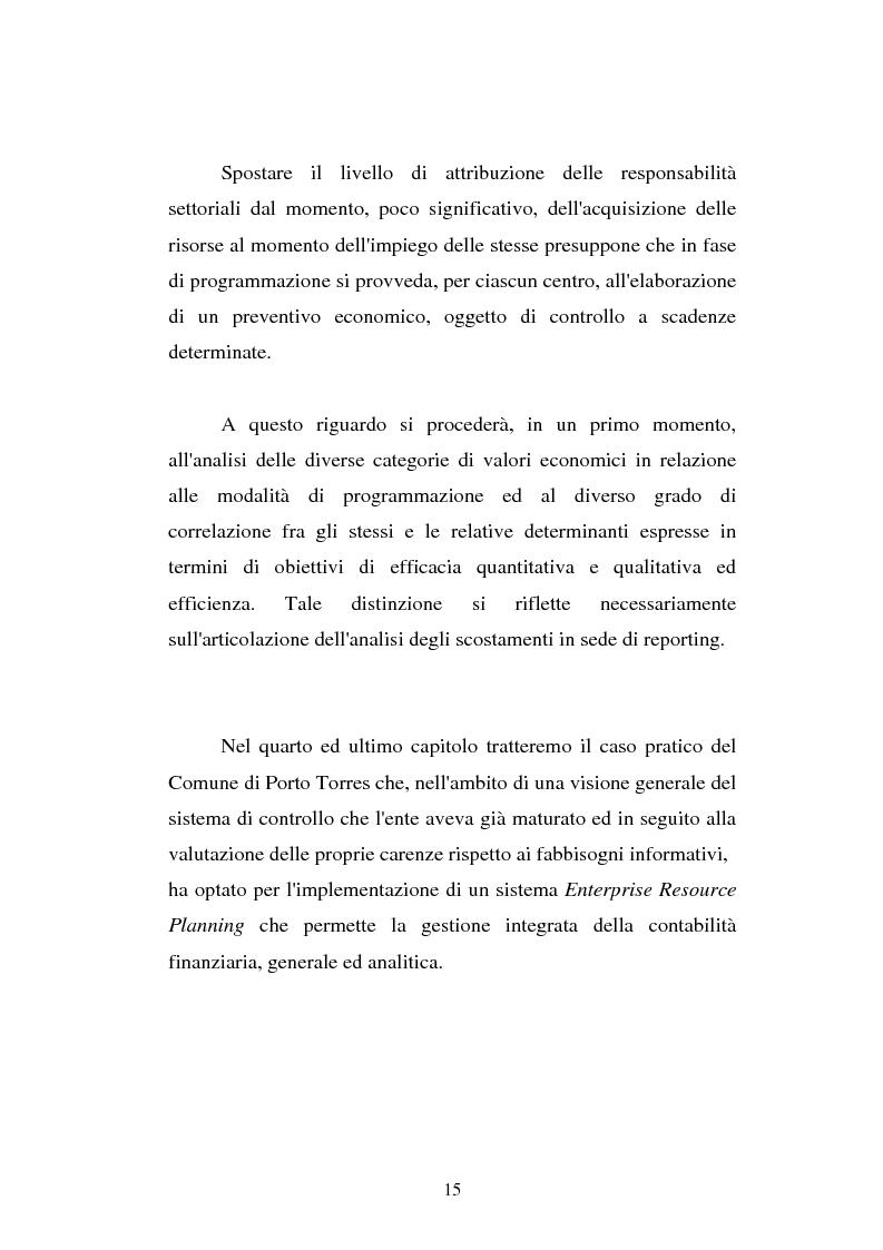 Anteprima della tesi: Il cost accounting come strumento di controllo direzionale negli enti locali. Il caso del Comune di Porto Torres, Pagina 8