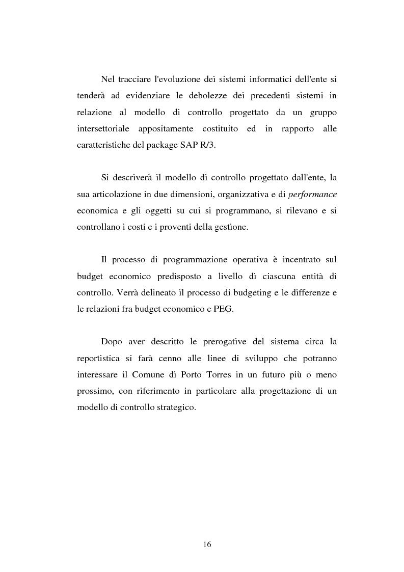 Anteprima della tesi: Il cost accounting come strumento di controllo direzionale negli enti locali. Il caso del Comune di Porto Torres, Pagina 9