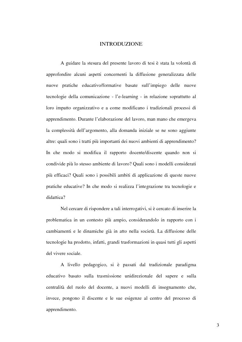 Anteprima della tesi: E-learning: apprendere con la rete. L'impiego dei nuovi media in ambito educativo-formativo, Pagina 1