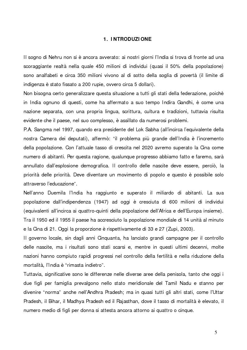 Anteprima della tesi: La questione demografica indiana: salute sessuale e riproduttiva e strategie di diffusione dell'informazione, Pagina 1