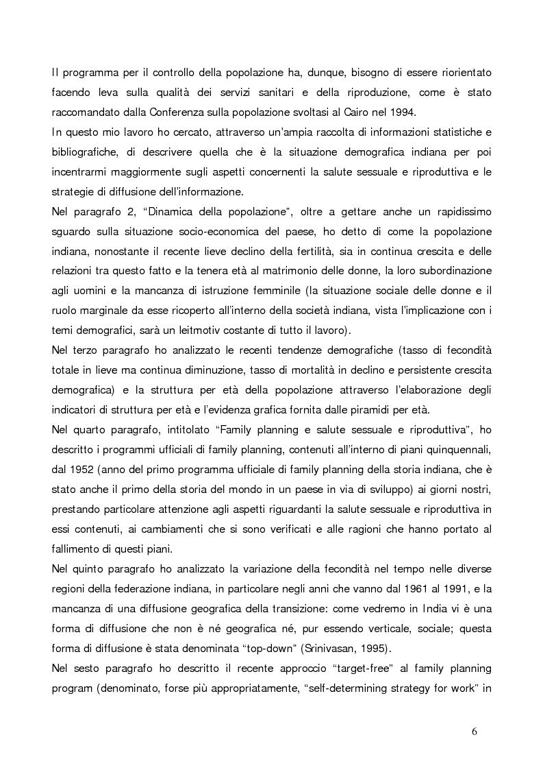 Anteprima della tesi: La questione demografica indiana: salute sessuale e riproduttiva e strategie di diffusione dell'informazione, Pagina 2