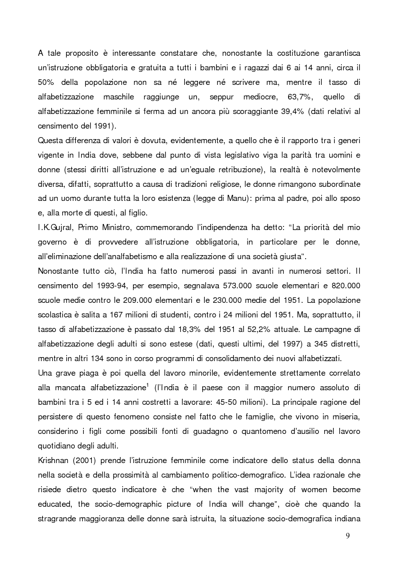 Anteprima della tesi: La questione demografica indiana: salute sessuale e riproduttiva e strategie di diffusione dell'informazione, Pagina 5
