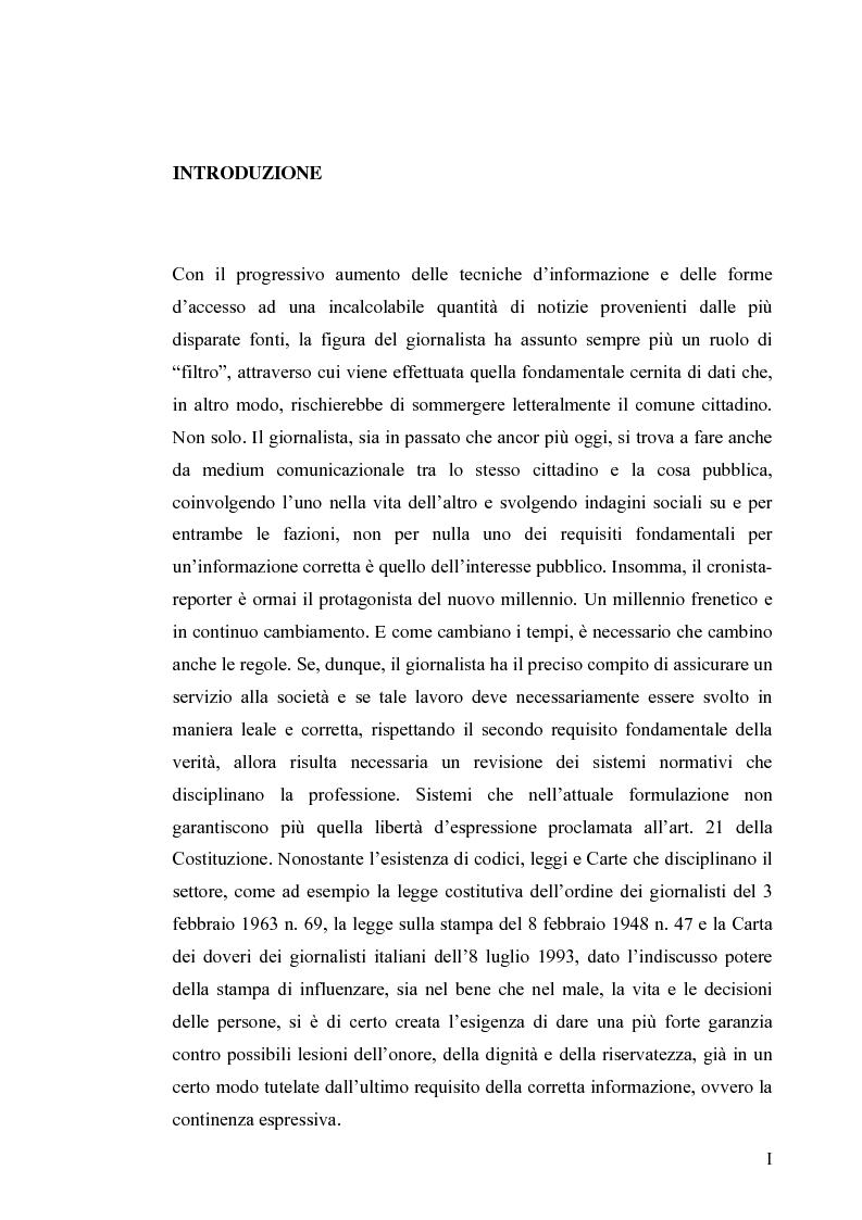 Anteprima della tesi: La diffamazione a mezzo stampa. Problemi e prospettive legislative, Pagina 1
